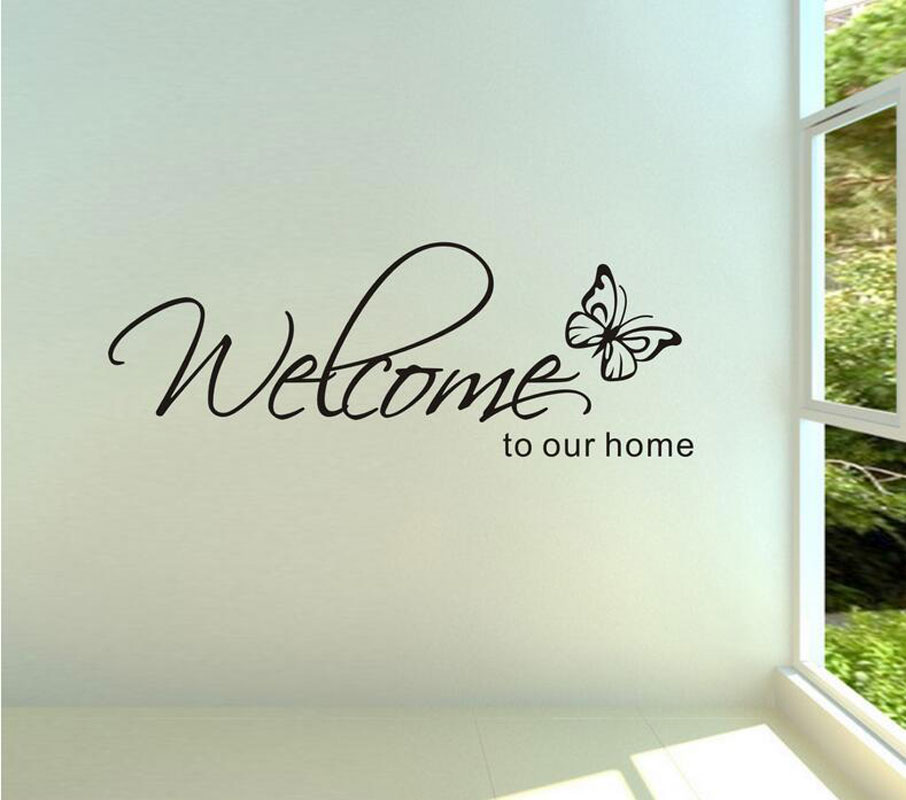 Stickers muraux home decor 39 welcome to our home 39 text for Stickers muraux