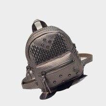 Highreal мини из PU искусственной кожи с заклепками рюкзак женская обувь; маленькие девочки-подростка рюкзаки SAC DOS Femme брендов обратно мешок туриста J30
