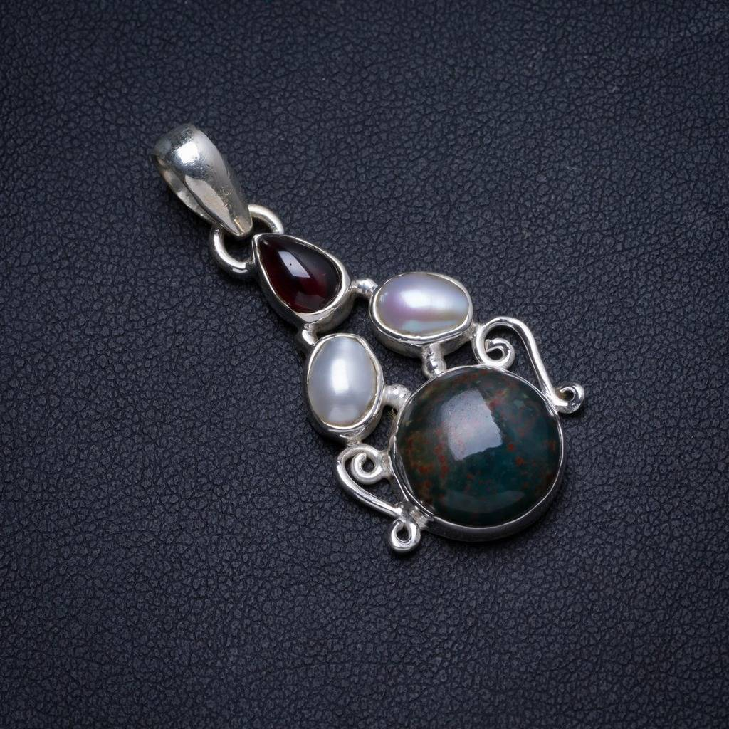 Natural Blood Stone,River Pearl and Amethyst Handmade Unique 925 Sterling Silver Pendant 1.5