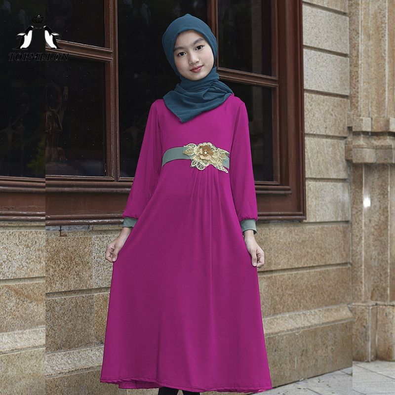 TOPMELON 2018 New Girls Muslim Dress Long Traditional Islamic Robes With Belt Slim Waist Abaya Red Purple Grey Pink Black