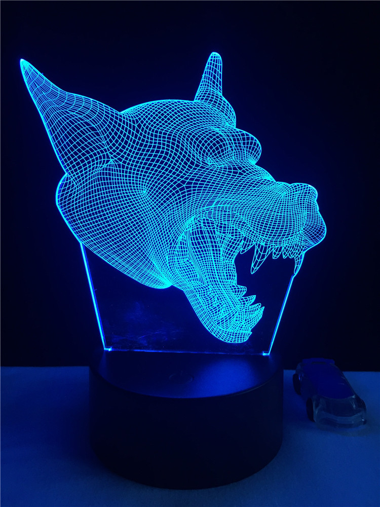 Us 12 43 26 Off Cool Wolf 3d Led Night Light Touch Switch Table Lamp Usb 7 Color Room Decor Colorful Led Lighting For Gift In Led Night Lights From
