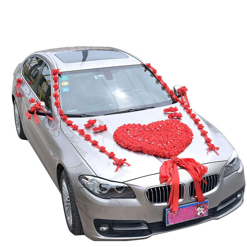 Altar Wedding Cars Timperley: Wedding Car Artificial Flower Decoration Heart Wreath
