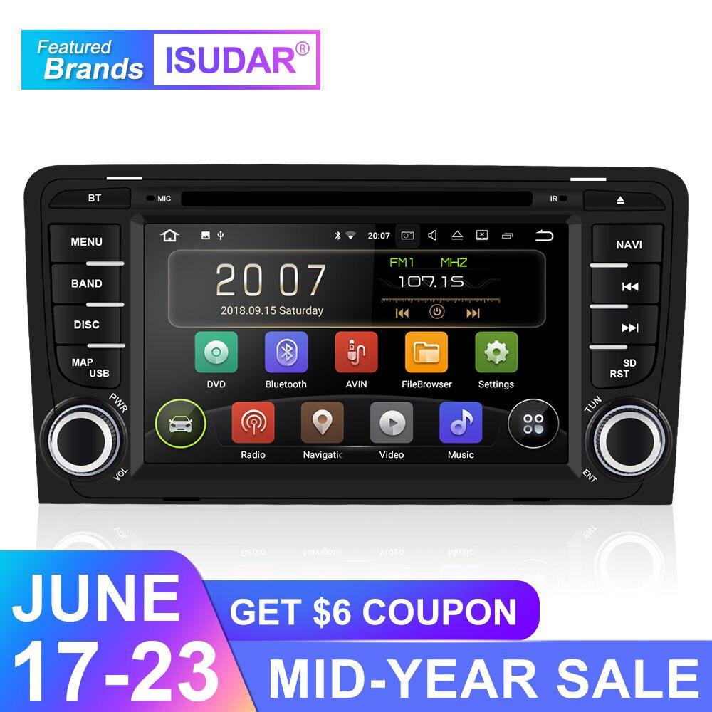 Isudar 9 2 Din Rádio Auto Android Para Audi A3 8 P/A3 8P1 3-porta Hatchback/ s3 8 P/Sportback RS3 Multimídia Player De Vídeo Do Carro GPS DVR