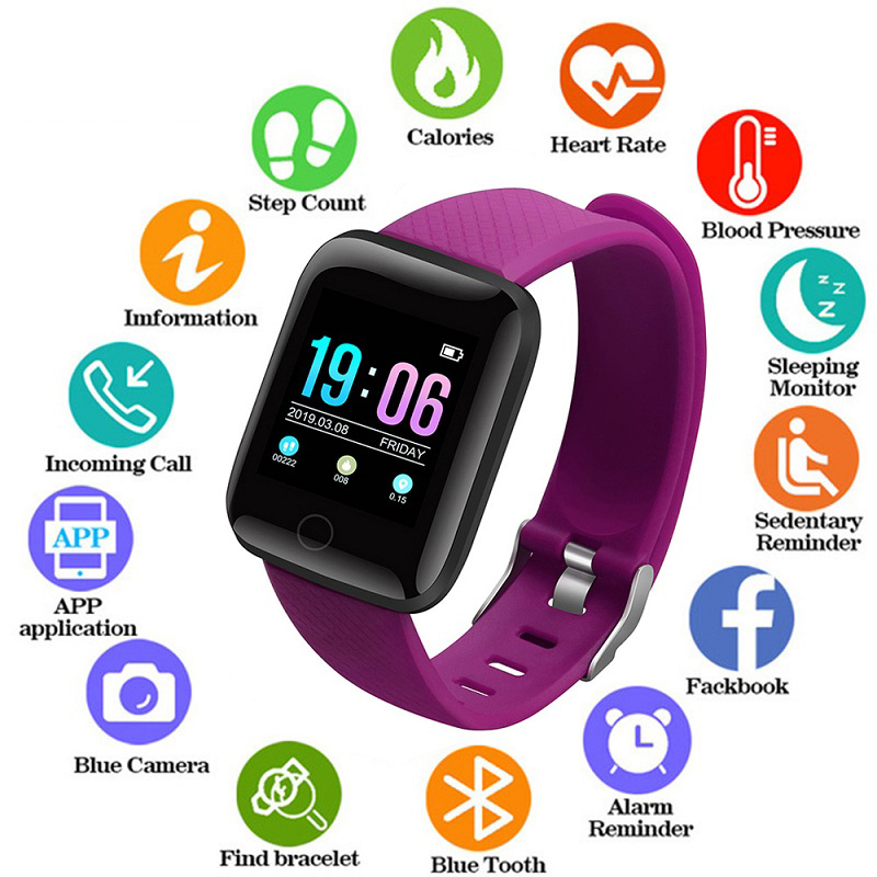 Smart Sport Watches Waterproof Blood Pressure Heart Rate Watch Pedometer Calories for ios Android Fitness Wristwatches +Box 2019