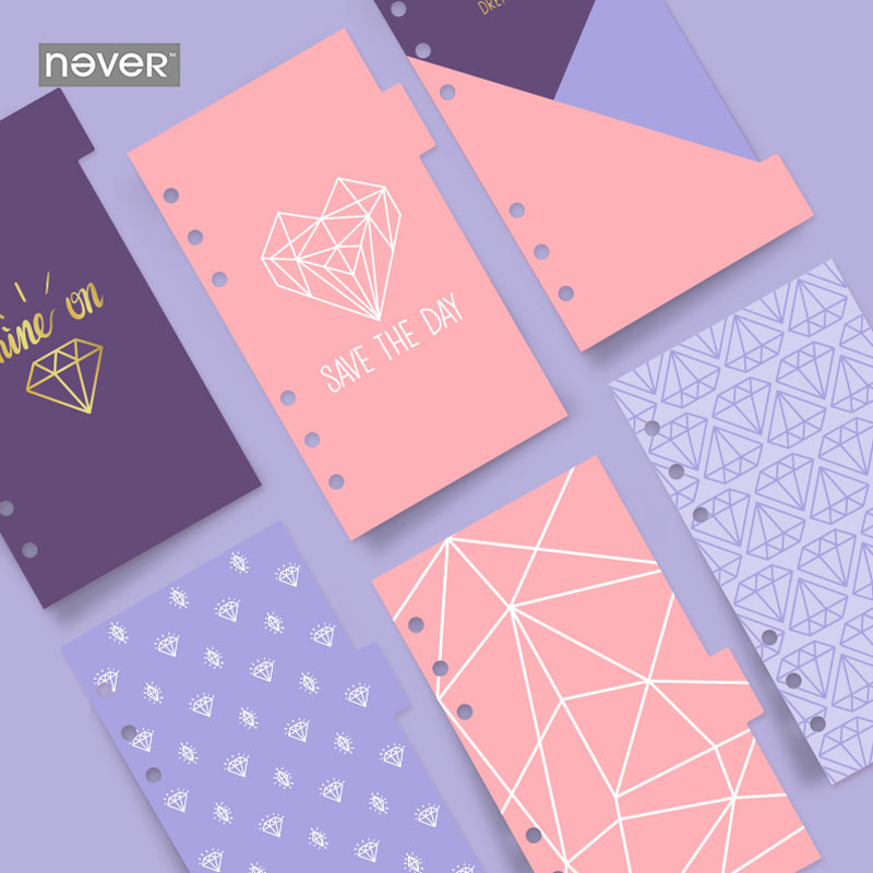 Yiwi A6 Spiral Notebook Loose Leaf Purple Diamond 6 sheets Separator Pages Calendar Separator Plate Planner Accessories 2018 yiwi never stationery rose standard six hole notebook handbook loose leaf page separator page index page