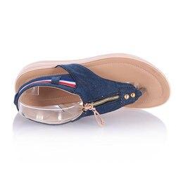 Women Sandals Zip Denim Wedges Shoes Summer Beach Shoes Fashion Platform Sandals Ladies Shoes Woman Sandalie Flip Flops Creepers 6