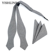 YFHL0107 Mens Handmade Cotton Bowties Hanky Set Gray Grey Solid Self Bow Ties Butterfly Pocket Square For Wedding Party Suit(China)