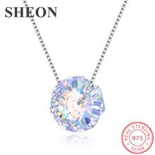 New arrival 925 Sterling Silver Box chain Simple Austria Crystal Pendant Necklaces Anniversary Jewelry making women gifts