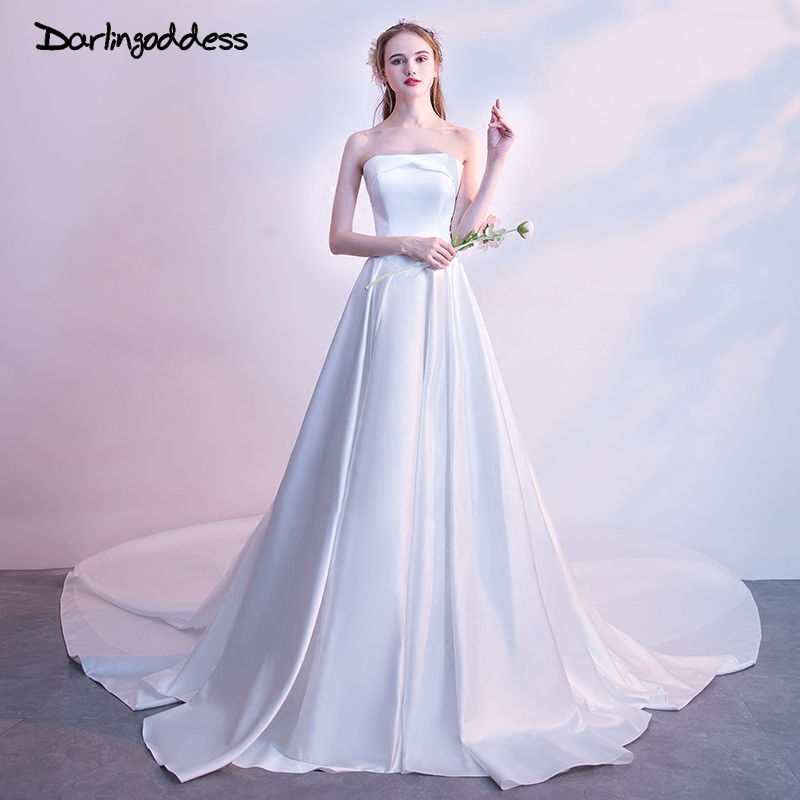 Darlingoddess Robe De Mariage 100% Real Photo Simple