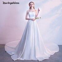 Darlingoddess Robe de mariage 100% Real Photo Simple Wedding Dress Satin Backless Long Train Plus Size Robe de Mariee Cheap