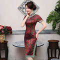 2017 New Fashion China Red Cheongsam Sexy One-Piece Flower Printed Dress Slim Women's Autumn Short Design Party Qipao Dresses