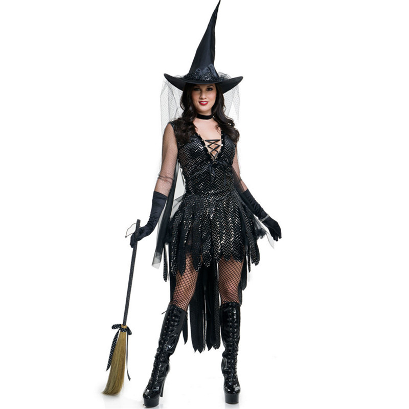 2018 adult black Witch Costume Halloween Party Sexy Witch Cosplay clothing demon Black irregular Performances Fancy Dress+Hat