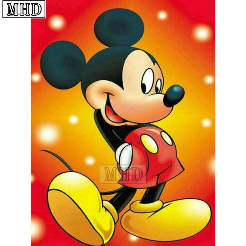 ce04e05b38 Full Square Cartoon 5d Diy Diamond Painting new Mickey Mouse 3D Diamond  Mosaic Cross Stitch Artwork MQA236