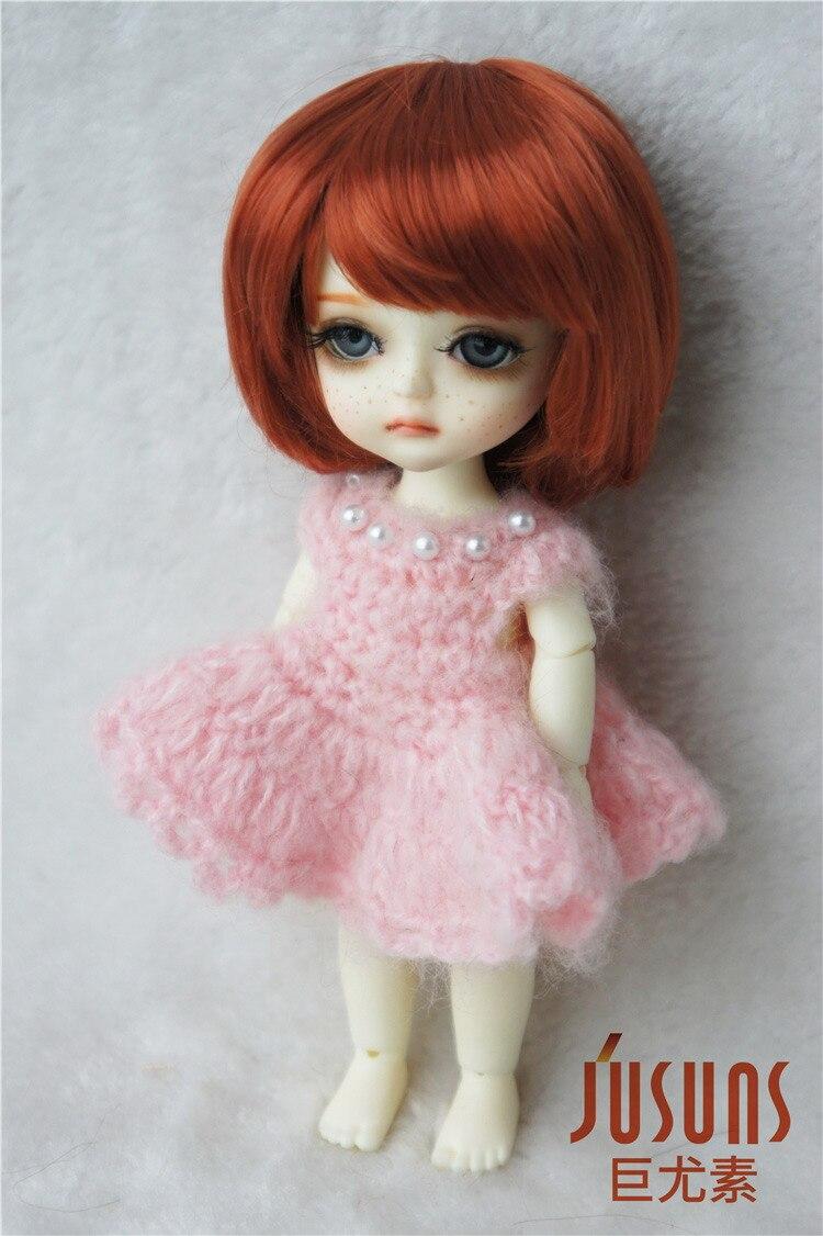 JD025 1/8 1/6 модный короткий парик BJD с челкой для размера 5-6 дюймов 6-7 дюймов кукла мягкий синтетический мохер кукла аксессуары - Цвет: 5-6inchCarrot SM130