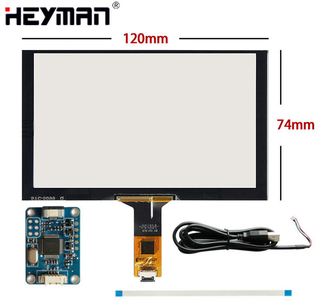 US $17 7 |5 inch''120mm*74mm 120mm*73mm Capacitive Touch Digitizer  Raspberry Pi GPS navigation Touch screen panel Glass+USB Driver board-in  Tablet