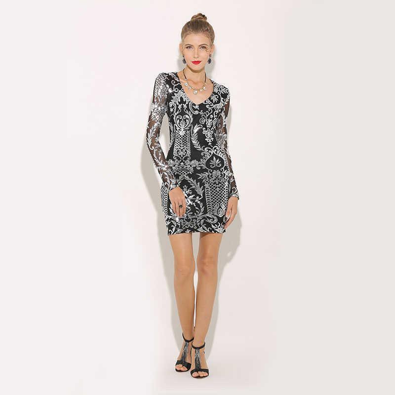 ... Parthea Fashion Women Sequin Dress Floral Bodycon Club Party Dresses  Winter Sexy Long Sleeve V Neck ... fc28e848369e