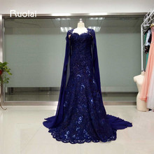Здесь можно купить  Custom Style Sweetheart Mermaid Crystal Long Evening Dresses 2017 with Cape Shawl Dark Blue Prom Dresses Robe de Soiree FE60