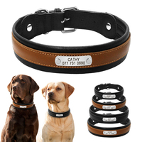 Personalized Large Dog Collars Adjustable Padded Customized Pet Name ID Leather Collar Free Engraving For Medium