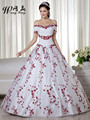 2017 New Winter Inexpensive Simple Party Bridal Gown Red White Off The Shoulder Two Tone Girl Temple Wedding Dress With Color