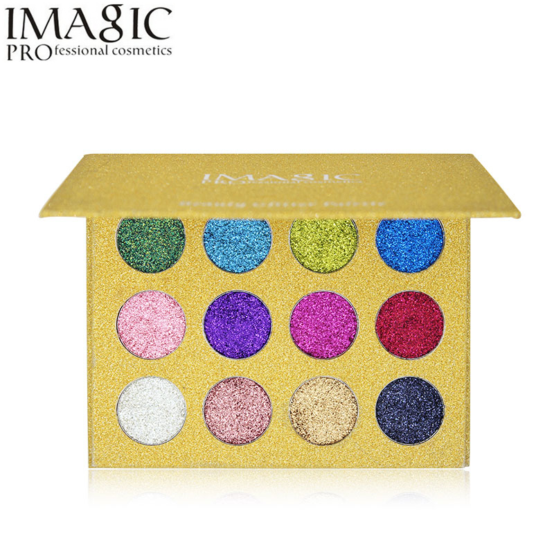 все цены на Imagic 12 Color Highly Pigmented Diamond Glitter Eye Shadow Palette Flash Shimmer Eyeshadow Make Up Palette онлайн