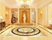 European Pattern Marble Waterproof Floor Mural Painting Custom Photo Self Adhesive 3D Floor 3d Floor Tiles