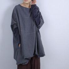 Новинка, Женские винтажные длинные топы размера плюс, свободный хлопковый пуловер, рубашки, женские рубашки с длинным рукавом, Ретро стиль, оригинальные серые рубашки и топы