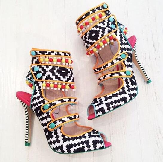 Geometric Mixed Colors Leather Women Fashion Peep Toe Sandals Cute Beading Tassel Ladies Sexy High Heels Unique Party Shoes new style woman shoes stiletto high heels mixed color as its character suit to party sexy peep toe fashion and unique shoes