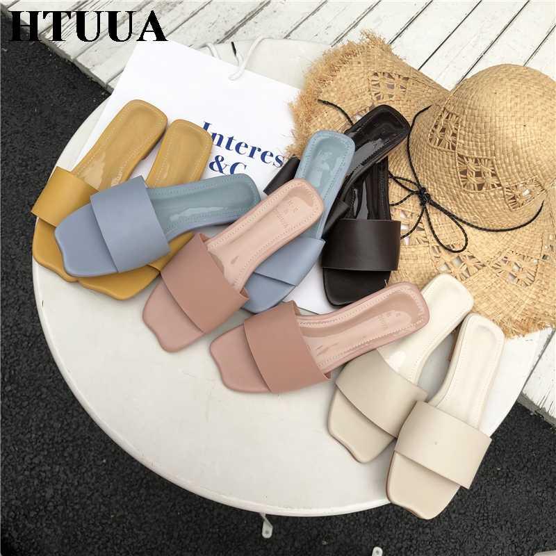 Htuua 2019 в Корейском стиле модные туфли леденцового Цвета женские шлепанцы на плоской подошве сланцы летняя обувь, повседневные женские шлепанцы, размеры снаружи Пляжные сланцы SX2456