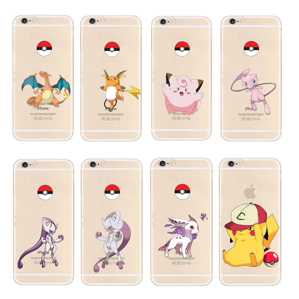 Hot mobile game Pokemons Go Pokeball Cute Animal Elves Case For Apple iphone 6 6S 4.7 Incn Soft TPU Silicone Back Cover Fundas