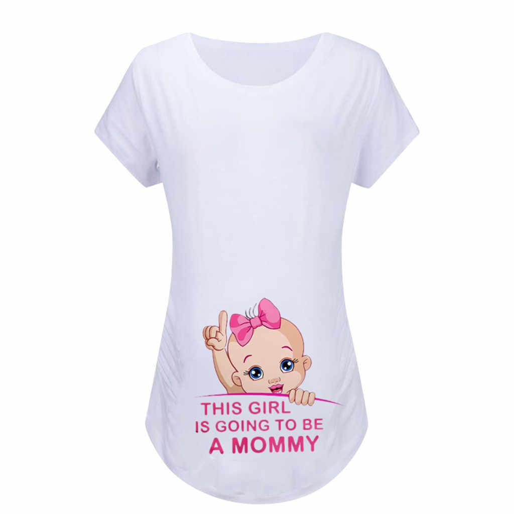 Женские топы для беременных с коротким рукавом с мультяшным принтом Футболки Одежда для беременных блузка Футболка Femme Enceinte
