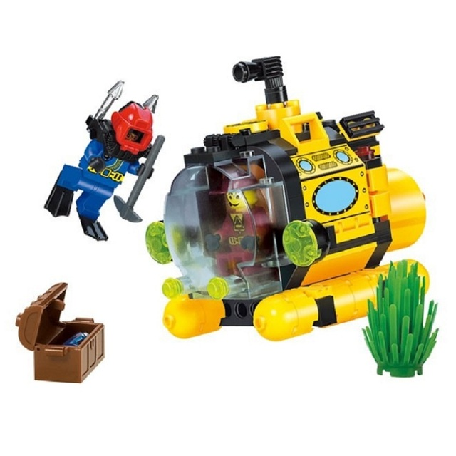 US $4 88  GUDI Pirate series Building Blocks Treasure Hunt Small Submarine  Kids Enlighten Bricks Action Figure Gift Toys for children-in Blocks from