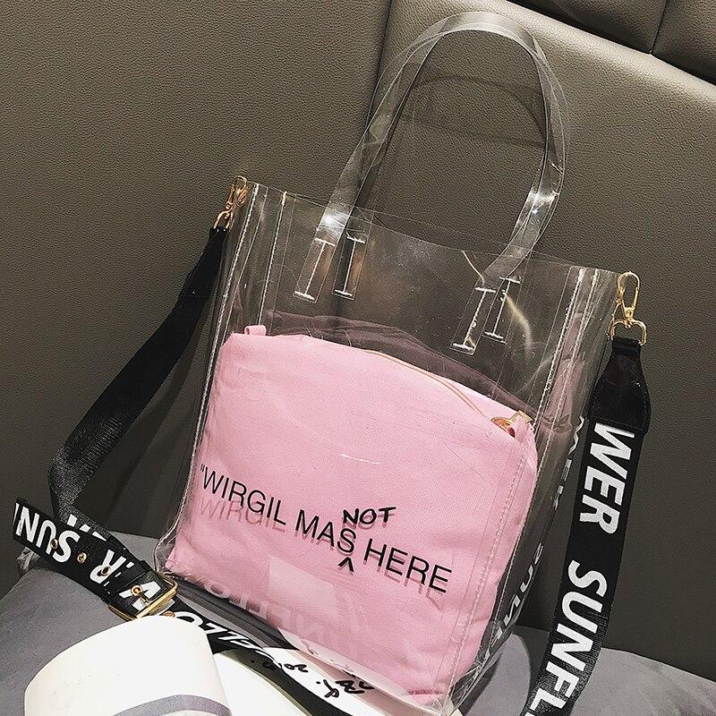 New Fashion Design Women Jelly PVC Transparent Handbag Large Capacity Shoulder Bag Shopping Travel Summer Beach Crossbody Bag