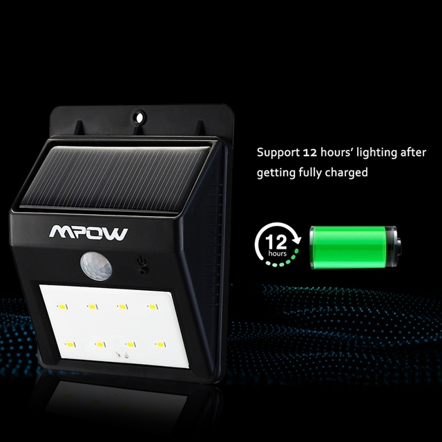 Mpow MSL3 Solar Light 8 LED Security Motion Sensor Waterproof Garden Light for Stairs Wall Auto On / Off Function