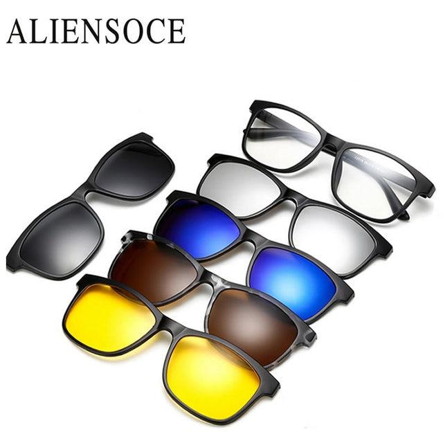 53d4723384 ALIENSOCE Magnet Sunglasses Clip Magnetic Clip on Sunglasses Men Polarized  Clips Custom Prescription Myopia Night Vision