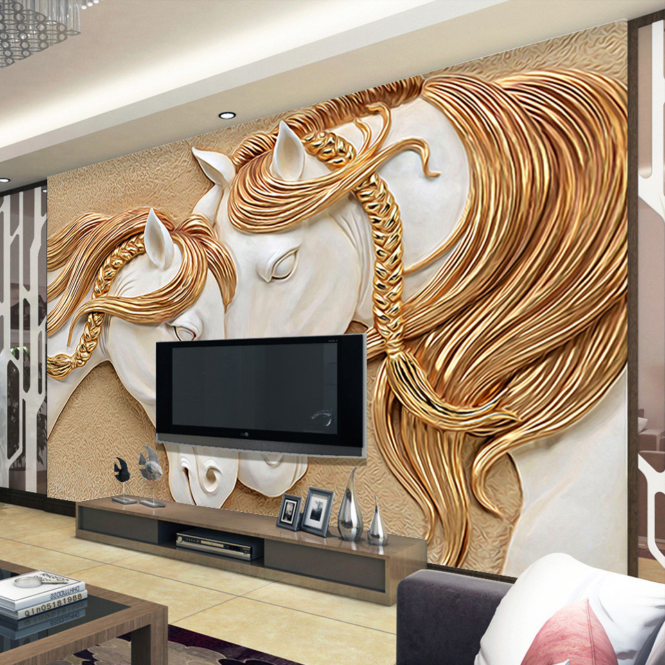 High quality custom photo wallpaper 3d stereo embossed horse high quality custom photo wallpaper 3d stereo embossed horse living room tv backdrop wall mural art painting mural wall paper in wallpapers from home amipublicfo Gallery