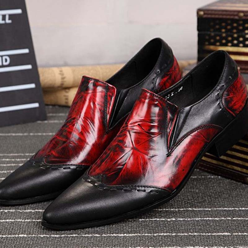 Men Genuine Leather Pointed Toe Red Vintage Dress Shoes Classic Formal Retro Oxfords For Men Flats Footwear Wedding Party Shoes 16mm 12v blue led angel eye push button metal on off switch for car boats