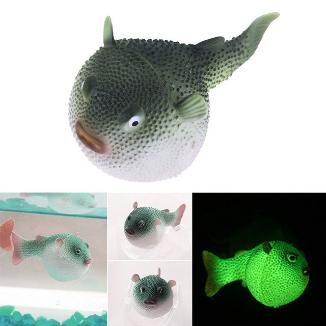 Fluorescent Puffer Fish Toy Artificial Silicone Swim Electronic Toy Fish Fishing Tank Ornaments