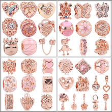 2020 New Rose Gold Blush Pink Magnolia Bloom Bead Fit Original Pandora Charms Silver 925 Women Bracelet Jewelry DIY Making Gifts(China)