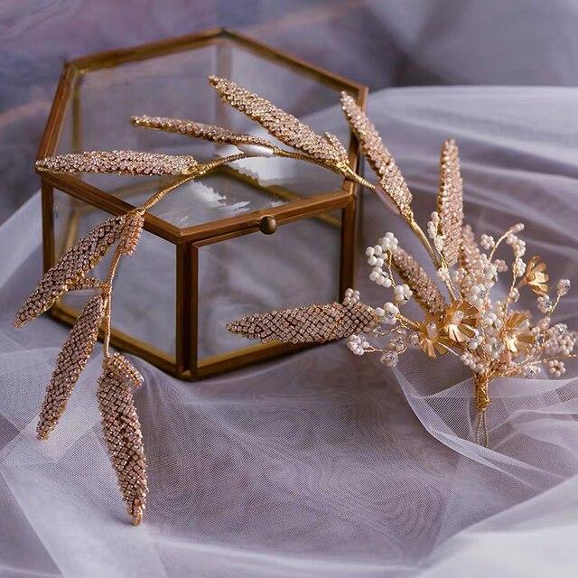 เกาหลีทำด้วยมือ Brides Headbands Rhinestone ดอกไม้เจ้าสาว Hairbands อุปกรณ์เสริมผมงานแต่งงาน Evening Headdress