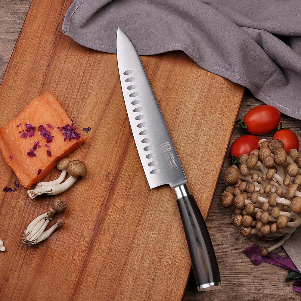 2018 SUNNECKO 8,5 дюймов нож шеф-повара Santoku немецкий 1,4116 стали лезвие шеф-повара кухонные ножи сильная твердость цвет деревянной ручкой