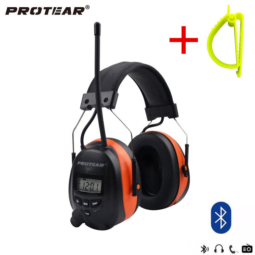 Protear NRR 25dB Hearing Protector Bluetooth AM/FM Radio Earmuffs Electronic Ear Protection Headphone With Belt Hook Clip