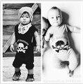 SR078 Crânio impressos vestidos da menina do bebê roupas de algodão macacão de bebê recém-nascido conjunto de roupas de bebe roupa dos miúdos das crianças
