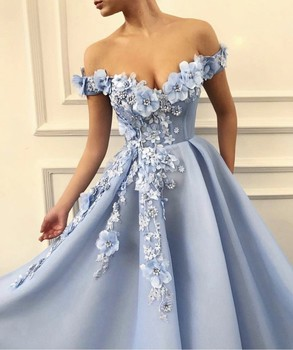 Charming Blue Evening Dresses 2019 A-Line Off The Shoulder Flowers Appliques Dubai Saudi Arabic Long Evening Gown Prom Dress 4