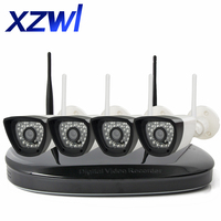 4CH CCTV System Wireless NVR WIFI IP Camera 720P HD IR Night Vision P2P CCTV Home