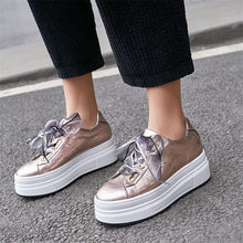 NAYIDUYUN  Genuine Leather Oxfords Shoes Women Wedges Platform Ankle Boots Low Top High Heel Party Pumps Lace Up Sneakers