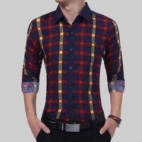 Brand 2017 Fashion Male Shirt Long Sleeves High Quality Hit Color Plaid Shirt Mens Dress Shirts