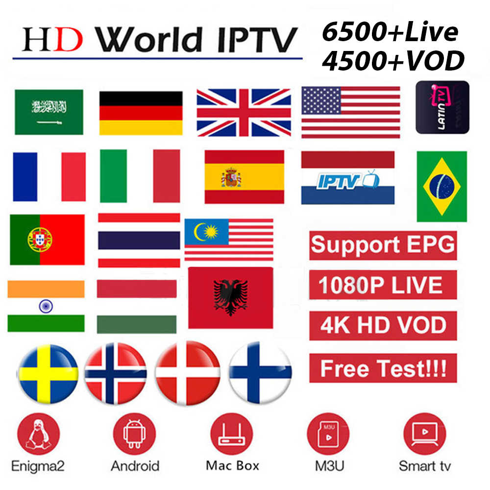 For Android TV Box M3U IPTV subscription Europe french italain