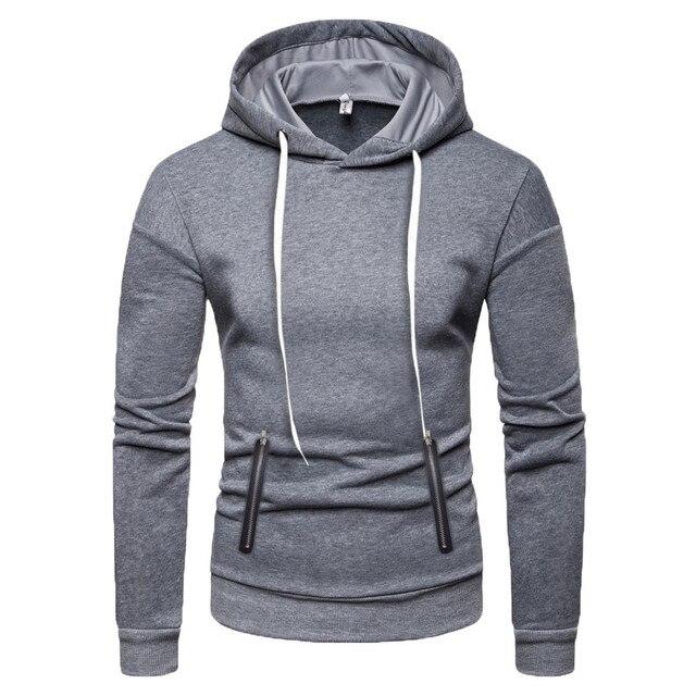 68f4797bd Sweatshirt Mens Autumn Winter Pure Color Pullover Long Sleeve Hooded  Sweatshirt Tops Men Outdoor Casual sport coat nov8