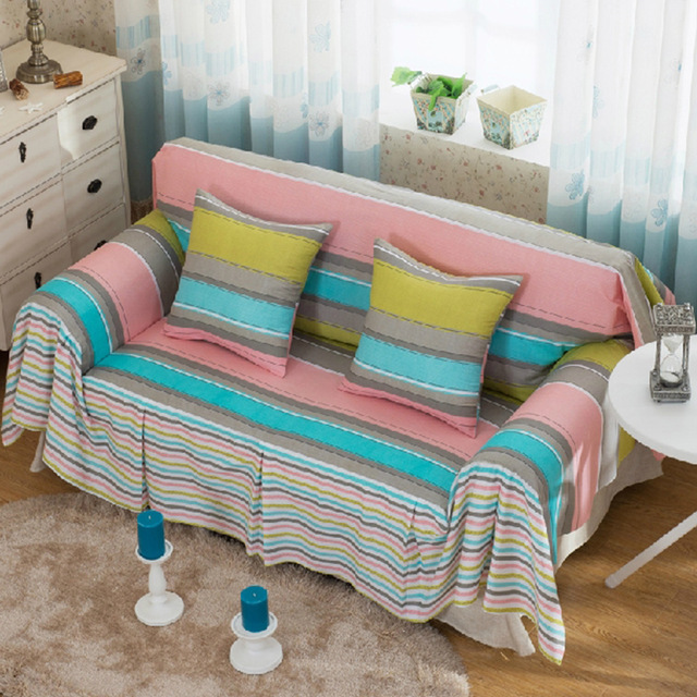 Stripe Colorful Sofa Cover Past Style Couch Covers Capa De Blanket Home Decor Contracted Limited