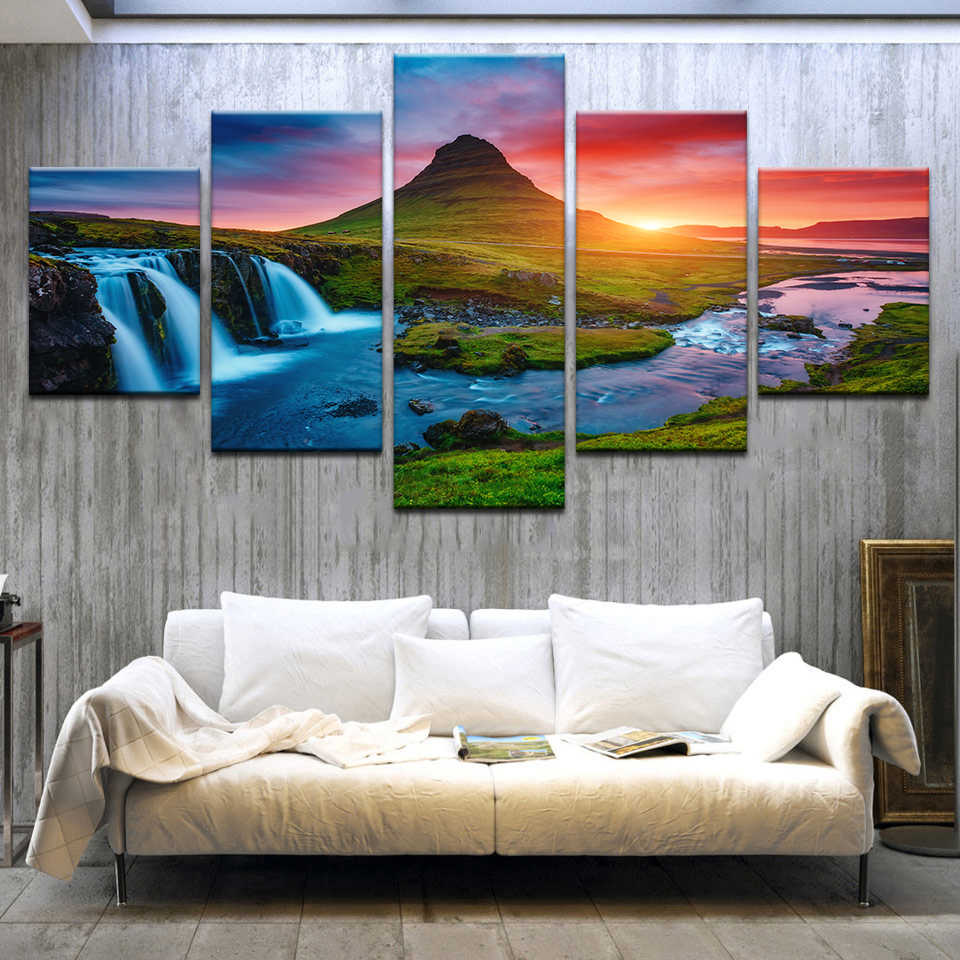 Modular Pictures Wall Art Canvas Painting Prints 5 Pieces River Waterfall Trees Sunset Landscape Poster Room Home Decor Frame